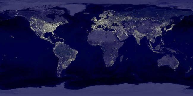 Нощната земя от Космоса