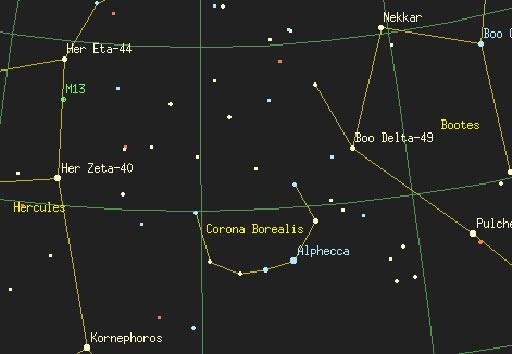 Местоположението на Северна корана между Херкулес и Воловар.